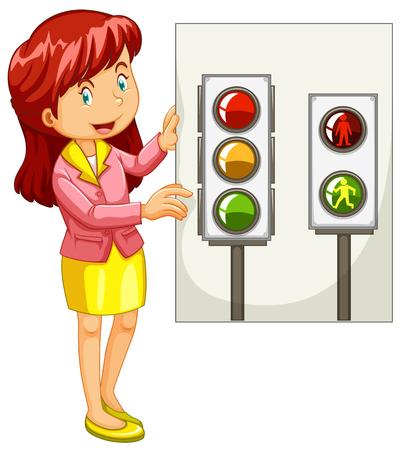 Teacher explaining traffic signals illustration
