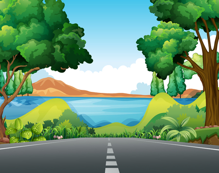 SEA  LANDSCAPE: Scene with road to the lake illustration