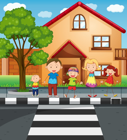 family outside house: Family holding hands while crossing the road illustration Illustration