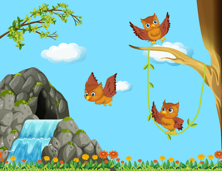 waterfall in forest: Three owls flying at the waterfall illustration