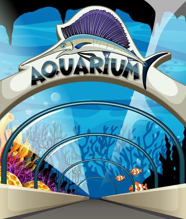fishtank: Aquarium scene with lives underwater illustration