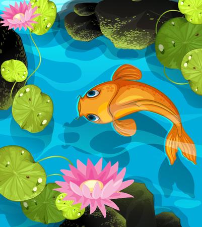 koi fish pond: Koi swimming in the lotus pool illustration