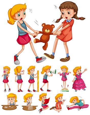 blonde teenager: Girls in different activities illustration
