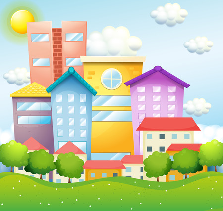Neighborhood with houses and buildings illustration
