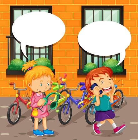 niños en bicicleta: Muchacho que habla en el teléfono y la muchacha que escucha la música de la ilustración