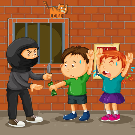 youth crime: Kids being robbed on the street illustration