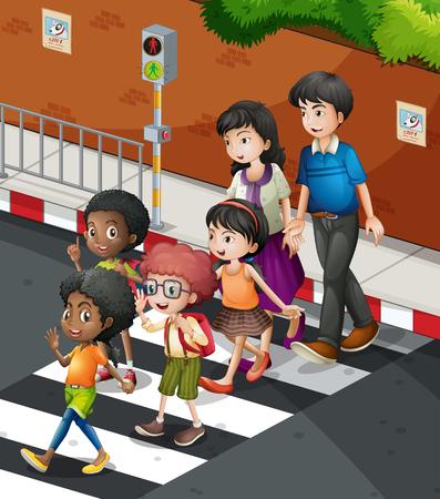 얼룩말 횡단 그림에서 도로를 건너는 사람들 일러스트
