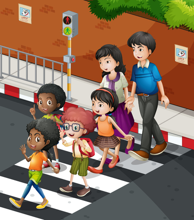 People crossing the road at the zebra  crossing illustration