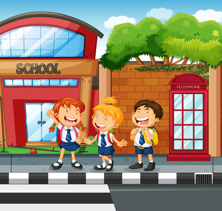 curb: Three students waiting to cross the road illustration Illustration