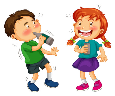 drunk girl: Boy and girl drinking alcohol illustration