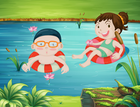 gree: Two kids swimming in the river illustration