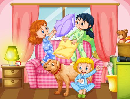 niñas jugando: Niñas jugando guerra de almohadas en la ilustración de la sala de estar