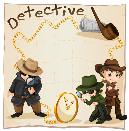 clues: Detectives looking for clues illustration
