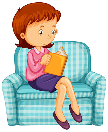 woman reading book: Woman reading book on sofa illustration Illustration
