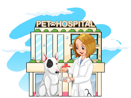 Vet and pet dog at the pet hospital illustration Vectores