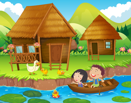 rowing boat: Two kids rowing boat in the river illustration
