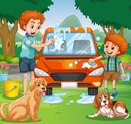 washes: Father and kid washing car in the park illustration