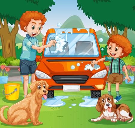 Vader en kind het wassen van de auto in het park illustratie