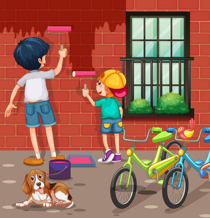 mischief: Two boys painting the wall red illustration Illustration