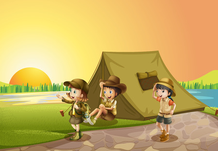 camping tent: Thee kids camping out in the field illustration Illustration