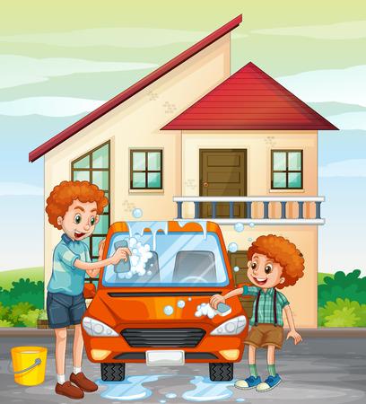 dad son: Dad and son washing car at home illustration Illustration