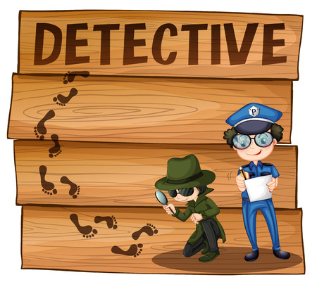 clues: Detective and policeman working together illustration