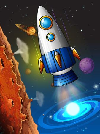 rocketship: Rocketship flying around the planet illustration