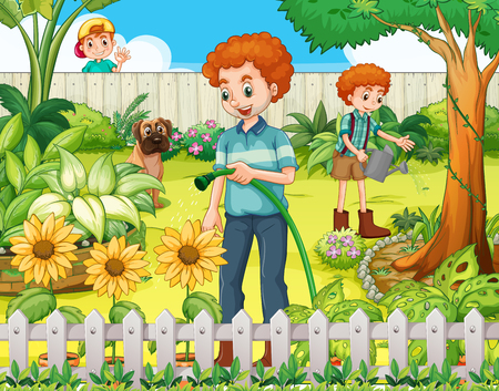 watering garden: Father and son watering the plants in the garden illustration Illustration