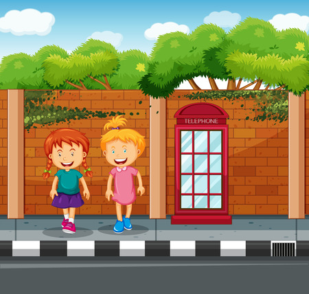 phonebooth: Two girls standing at the pavement illustration