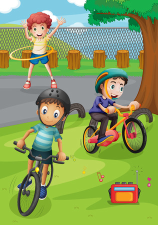 hulahoop: Boys riding bike and exercising in the park illustration