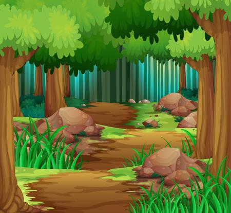 Scene con pista escursioni nella foresta illustrazione Vettoriali