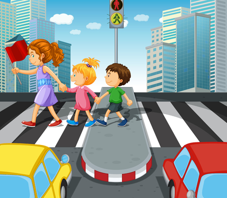 crossing street: Kids crossing the road at zebra crossing illustration