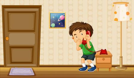 boy at phone: Boy making phone call at home illustration Illustration