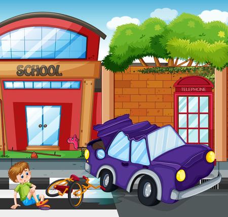 Ongeval met jongen gekwetst illustratie Stock Illustratie