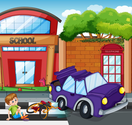Accident scene with boy getting hurt illustration