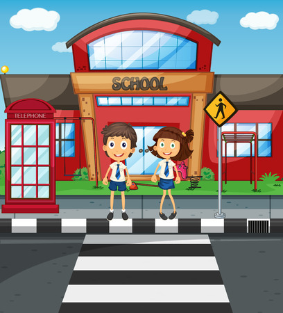 curb: Two students crossing road in front of school illustration