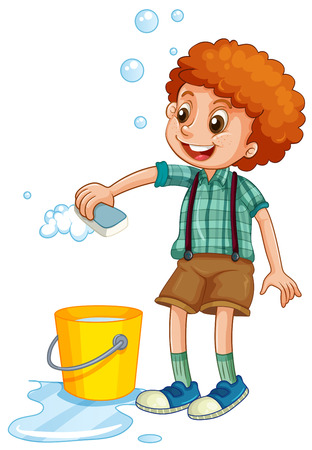 clean up: Boy cleaning with sponge illustration Illustration
