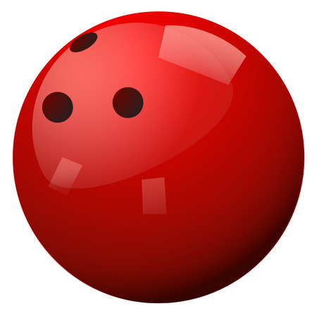 sport background: Red bowling ball on white background illustration