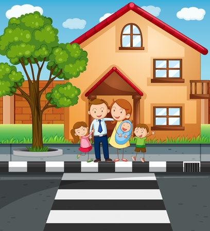 family outside house: Family members standing in front of the house illustration Illustration