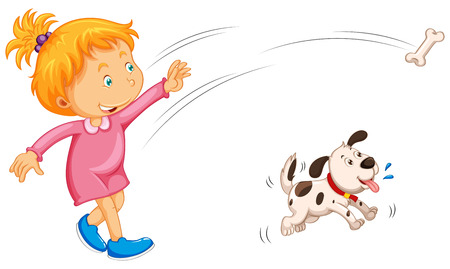 it girl: Girl throwing bone and dog catching it illustration