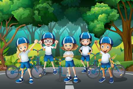 Children wearing helmet when riding bike illustration Иллюстрация