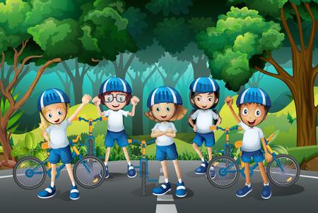 sport bike: Children wearing helmet when riding bike illustration Illustration