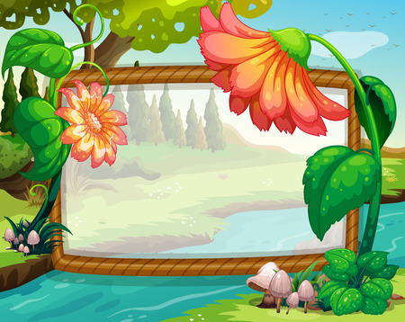 nature scenery: Frame design with flowers and river illustration