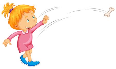 throwing: Girl in pink dress throwing bone illustration
