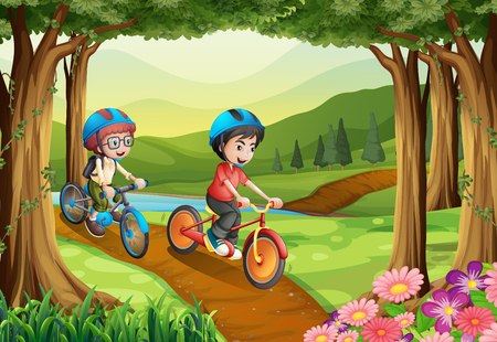 Two boys riding bicycle in the park illustration