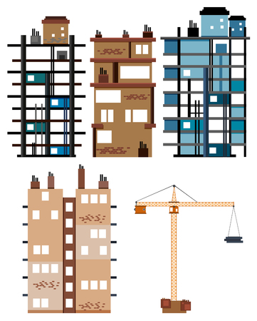 construction: Buildings and construction tools illustration