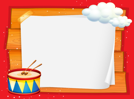 note board: Frame design with drum and clouds illustration