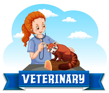 examining: Female vet examining red panda illustration