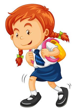 schoolbag: Girl with schoolbag walking illustration