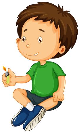 niños malos: Boy en camisa verde jugando con la ilustración de la luz Vectores